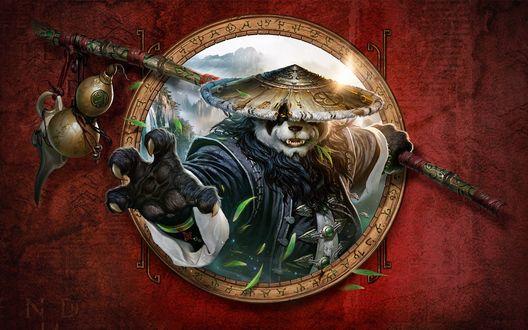 Обои Персонаж компьютерной игры Мир Warcraft: Туманы Пандарии / World of Warcraft: Mists of Pandaria - Panda WoW