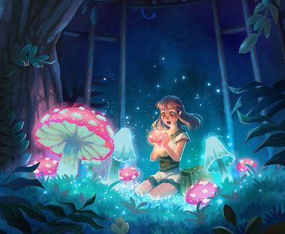 Обои Девочка сидит в окружении грибов