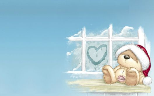 Обои Мишка в новогодекй шапке сидит у окна с нарисованным сердечком