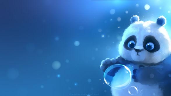 Обои Маленькая панда ловит пузырь, by Apofiss