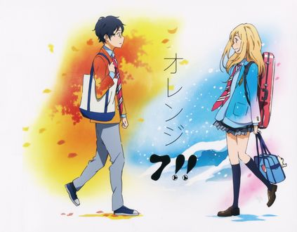 Обои Косэй Арима / Kousei Arima и Каори Миязоно / Kaori Miyazono идут на встречу друг другу, из аниме Твоя апрельская ложь / Shigatsu wa Kimi no Uso, art by Aya Takano
