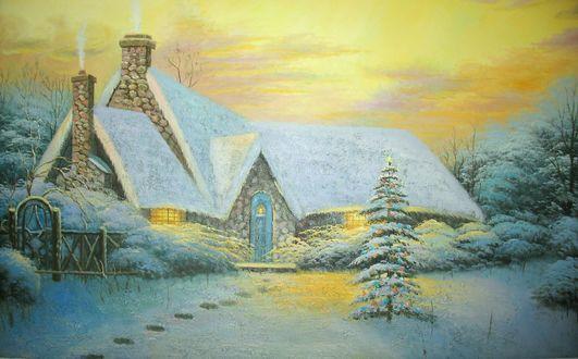 Обои Каменный дом в снегу под желтым небом