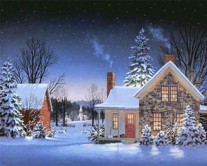 Обои Дома и деревья зимой вечером под снегом