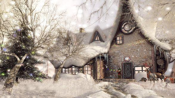 Обои Каменный дом в снегу в Рождество