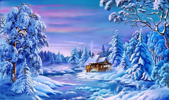Обои Дом снеди леса зимой вечером, и розовый закат