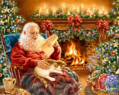 Обои Санта с котом читает у камина