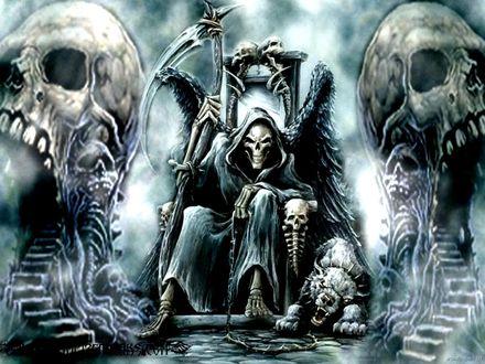 Обои Смерть с косой на троне в окружении черепов