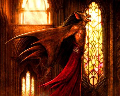 Обои Вампир в готическом храме готовится к полету