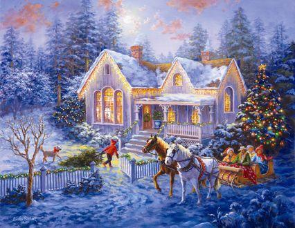 Обои Лошади привезли людей в дом на Рождество, возле которого наряжена елка и гуляет мальчик с собакой