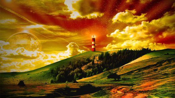 Обои На возвышенности стоит маяк