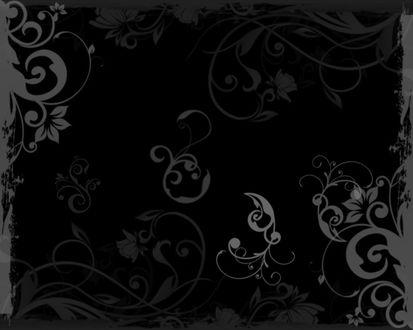 Обои Черные обои с цветочным рисунком