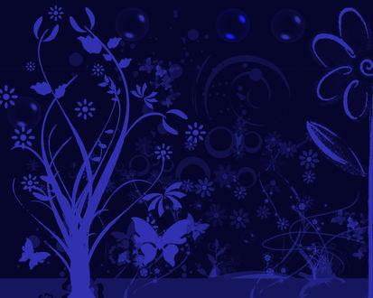 Обои Синий рисунок с деревом, бабочками и цветами