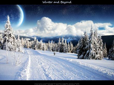 Обои Суперлуние над заснеженными деревьями и горами (Winter and Beyond)