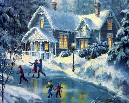 Обои Дети катаются на льду возле дома зимой, художник Thomas Kinkade / Томас Кинкейд