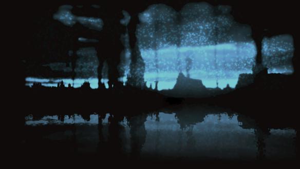 Обои Сквозь мрак и снег виден призрачный город, который отражается в воде
