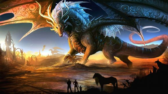 Обои Огромный дракон стоит и смотрит сверху на людей, которые восхищаются этим великолепным созданием