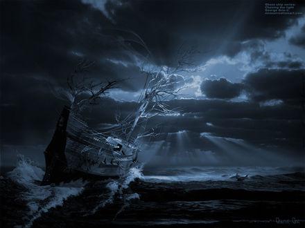 Обои George Grie. Корабль-призрак с растущими деревьями в море. Сюрреализм