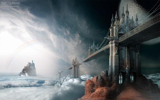 Обои Разрушенный готический мост и замок в море на фоне луны, by George Grie