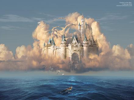 Обои Замок-призрак в облаках посреди моря и пустая лодка, by George Grie
