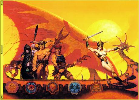 Обои Фэнтезийные воины в ладье под солнцем, by Gerald Brom