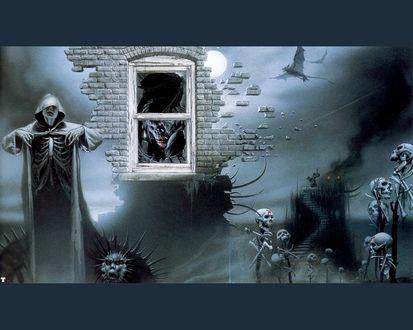 Обои Скелеты, призраки и драконы после апокалипсиса и ядерной войны фоткаются топлес