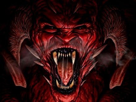 Обои Красный демон на черном фоне