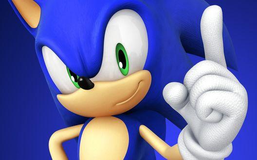 Обои Ёж Соник — антропоморфный еж синего цвета из серии компьютерных игр Соникку дза Хэдзихоггу / Sonic the Hedgehog