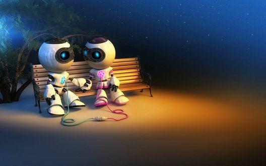 Обои Влюбленные роботы сидят на скамейке