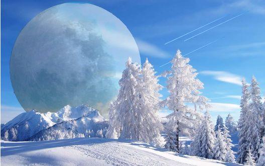 Обои Суперлуние днем над заснеженными горами и елками. Самолеты в небе