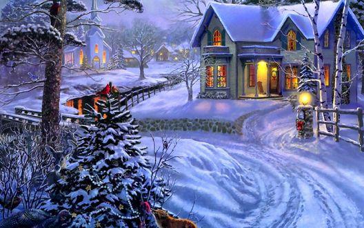 Обои Дома и церковь зимой накануне Рождества. Лиса возле елки