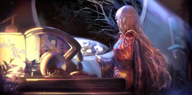 Обои Junko / Дзюнко из серии игр Тохо / Touhou Project / Проект «Восток» смотрит в окно на Землю
