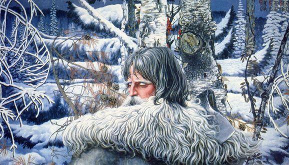 Обои Мужчина-маг с бородой зимой в лесу, by Константин Васильев