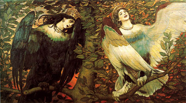 Обои Девушки-птицы сидят и поют на дереве. Сирин и Алканост (птицы радости и печали), художник Васнецов