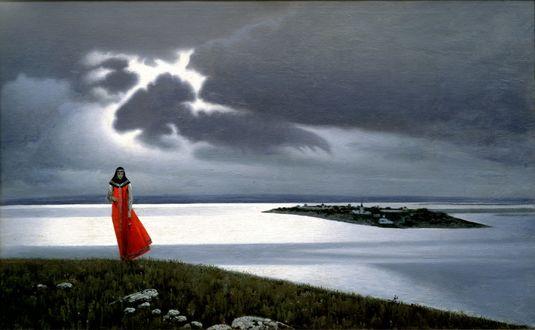 Обои Девушка в красном на берегу реки, by Константин Васильев