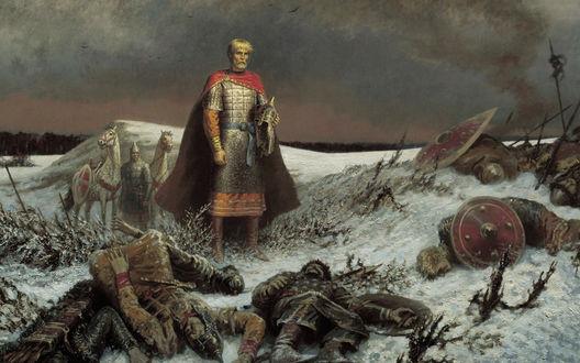 Обои Воин на поле боя смотрит на поверженных товарищей, занесенных снегом. Сзади призрак воина с лошадьми