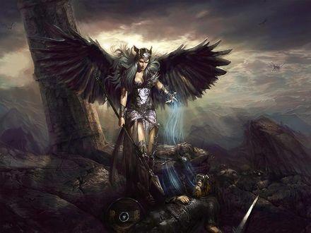 Обои Валькирия под поверженным воином забирает душу