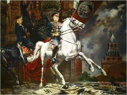 Обои Маршалы Жуков и Рокоссовский на конях на красной площади, by Константин Васильев