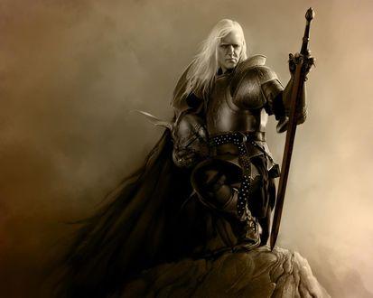 Обои Воин на скале с мечом и белыми волосами