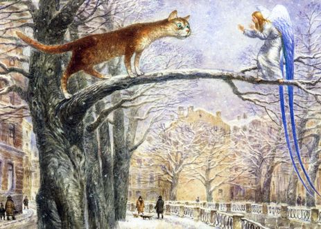 Обои Кот с ангелом на дереве в Питере