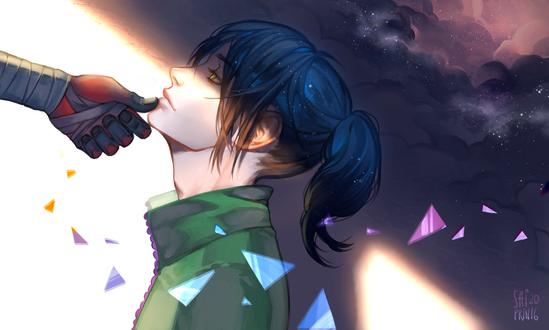 Обои Забинтованная рука у лица девушки, by Saiprin