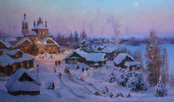 Обои Картина с селом зимой перед Рождеством