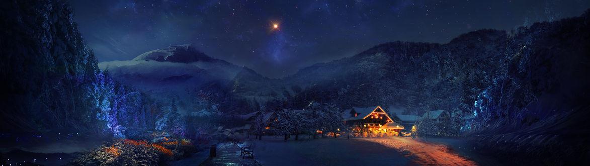 Обои Рождественская звезда над деревней в горах