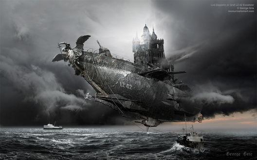 Обои Летящий над морем корабль с ангелом и храмом. Сюрреализм, by George Grie