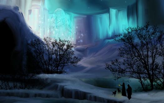 Обои Люди с собаками пришли к ледяной стене, на которой виден силуэт в северном сиянии