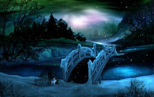 Обои Заяц возле моста через реку под северным сиянием зимой