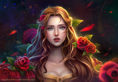 Обои Disney Princess Belle - Beauty and the beast / Диснеевская принцесса Белль-Красавица и зверь, by TiNyThanhTruc