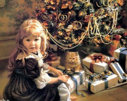 Обои Девочка сидит около Новогодней елки под которой кот, подарки