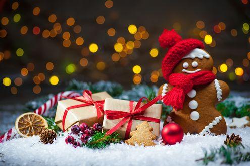 Обои Печенька в шапочке и шарфе стоит в снегу рядом с новогодними украшениями