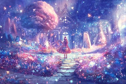 Обои Девушка стоит на дорожке в окружении сказочной природы