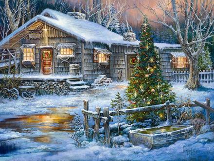 Обои Украшенная игрушками елка около маленького деревянного дома, стоящего в зимнем лесу. Художник Sandra Bergeron